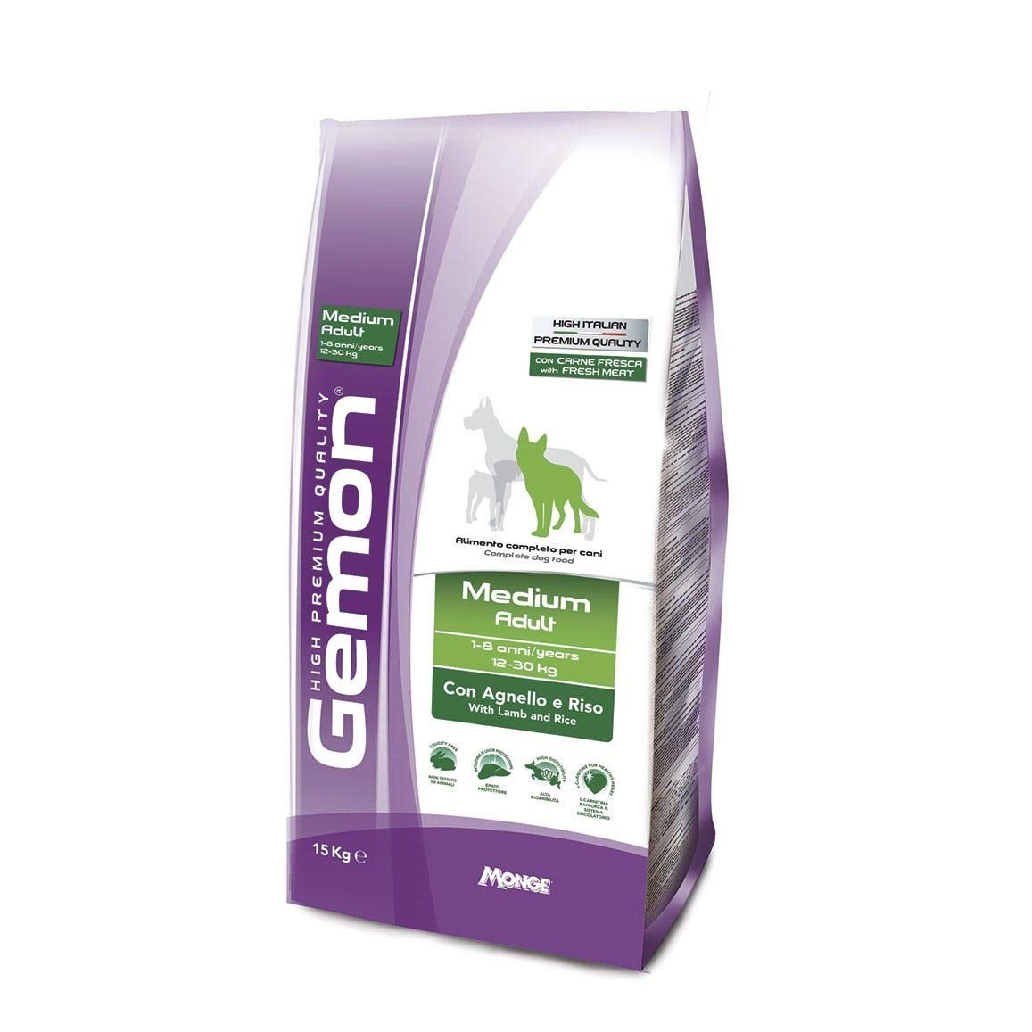 GEMON CANE MEDIUM ADULT CON AGNELLO E RISO 15KG